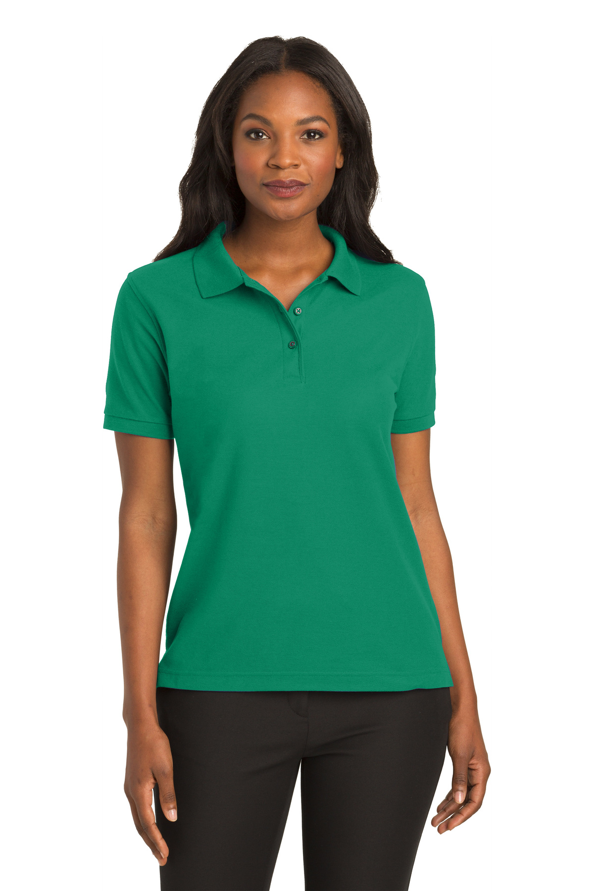Dark Green Port Authority Extended Sized Silk Touch Sport Shirt