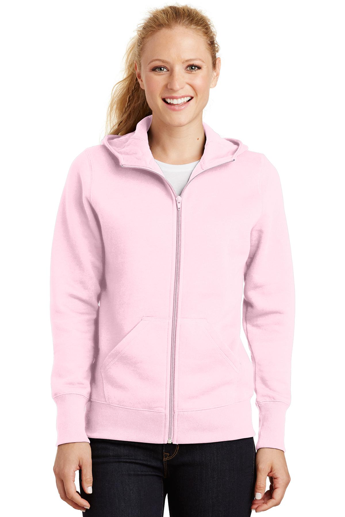 XS Sport-Tek L265 Ladies Full-Zip Hooded Fleece Jacket White
