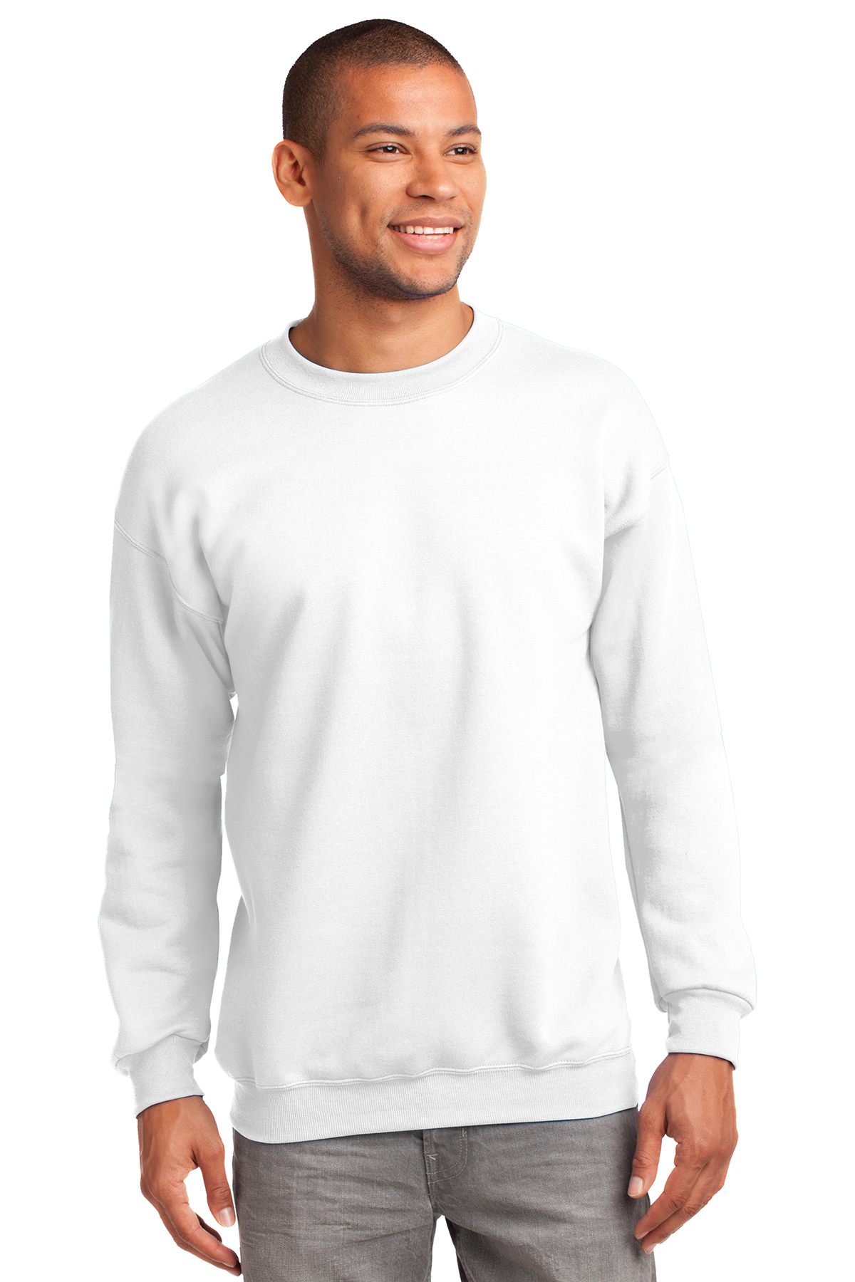 Port /& Company Crewneck Sweatshirt L White PC90Y